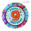 Шар Круг Цифра 9 С днем рождения 48см