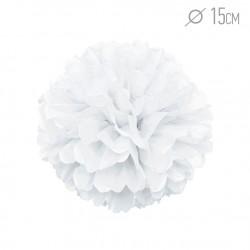 Помпон из бумаги 15 см белый