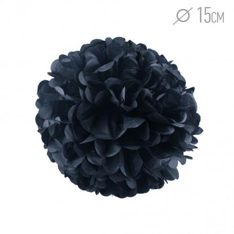 Помпон из бумаги 15 см черный