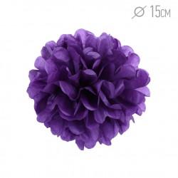 Помпон из бумаги 15 см фиолетовый