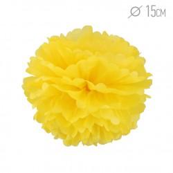 Помпон из бумаги 15 см желтый