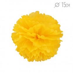Помпон из бумаги 15 см ярко-желтый