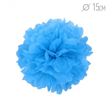Помпон из бумаги 15 см синий