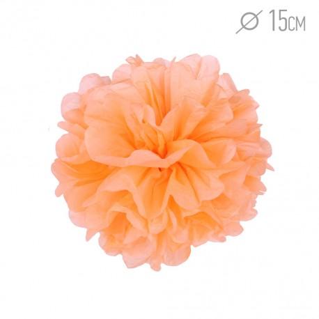 Помпон из бумаги 15 см светло-оранжевый