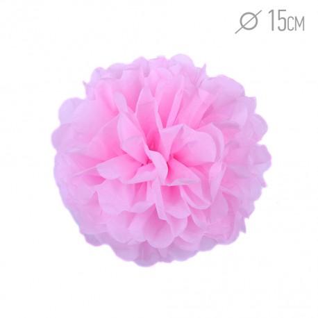 Помпон из бумаги 15 см розовый