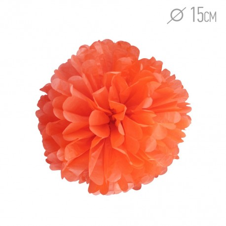 Помпон из бумаги 15 см оранжевый