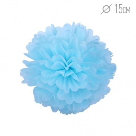 Помпон из бумаги 15 см голубой