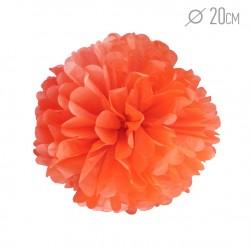 Помпон из бумаги 20 см оранжевый