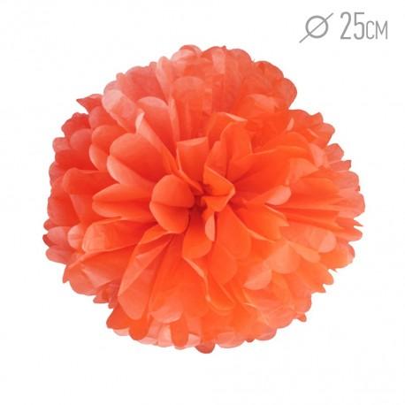 Помпон из бумаги 25 см оранжевый