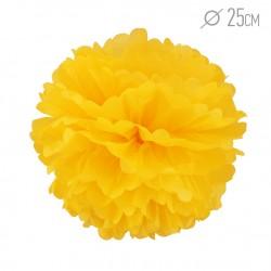 Помпон из бумаги ярко-желтый 25см