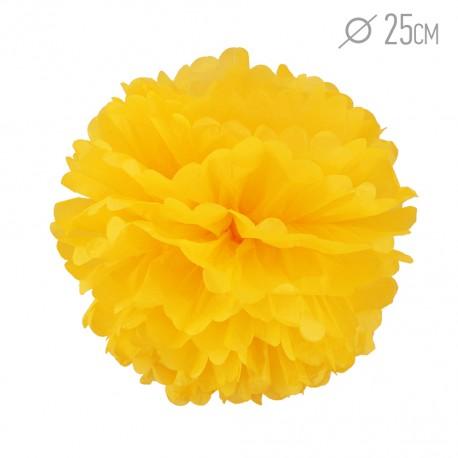 Помпон из бумаги 25 см ярко-желтый