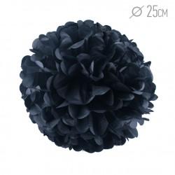 Помпон из бумаги 25 см черный