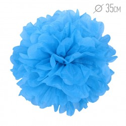 Помпон из бумаги 35 см синий