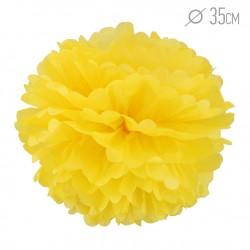 Помпон из бумаги желтый 35см