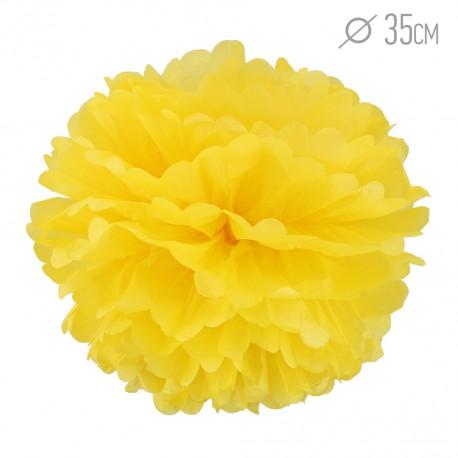 Помпон из бумаги 35 см желтый