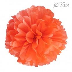 Помпон из бумаги 35 см оранжевый