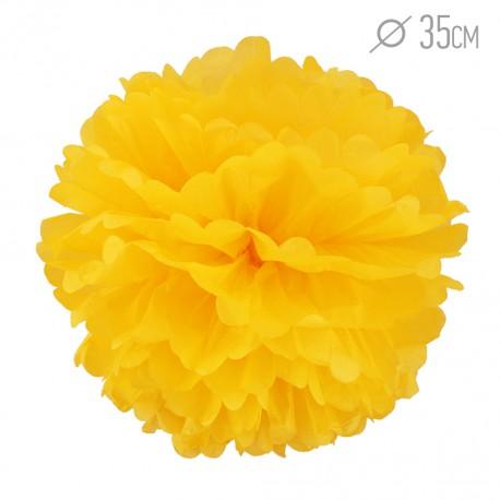 Помпон из бумаги 35 см ярко-желтый