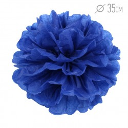 Помпон из бумаги темно-синий 35см