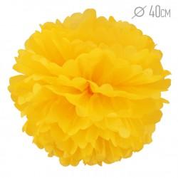 Помпон из бумаги 40 см ярко-желтый