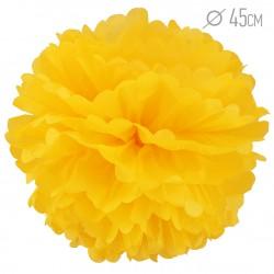 Помпон из бумаги ярко-желтый 45см