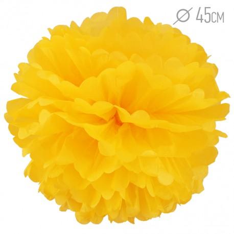 Помпон из бумаги 45 см ярко-желтый