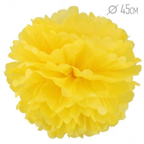 Помпон из бумаги 45 см желтый