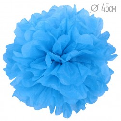 Помпон из бумаги синий 45см