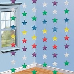 Гирлянда вертикальная разноцветная Звезды 210см 6шт