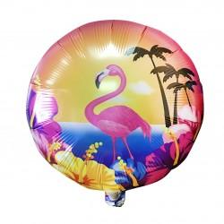 Шар (18''/46 см) Круг, Фламинго и гибискусы, 1 шт.