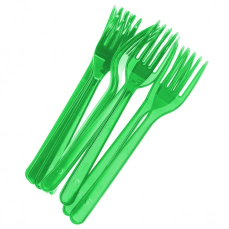 Вилка 180мм, зелён. (салат), кристалл, ПС 10 шт