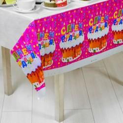 Скатерть С днем рождения тортик со свечами