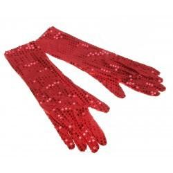 карнавал перчатки три четверти красные блеск 2 шт 40 см