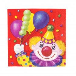 Салфетка Клоун с шарами 33см 12шт/G