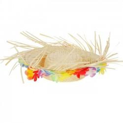 Шляпа гавайская яркие цветы с выемкой 38см
