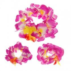 """Гавайский набор """"Пион"""", 3 предмета: два браслета, венок"""