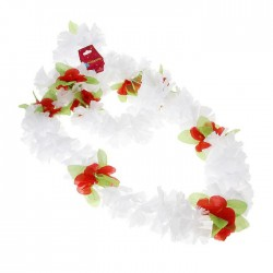 """Гавайский набор """"Цветочки"""", ( ожерелье венок 2 браслета), цвет белый"""
