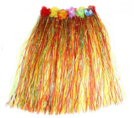 Карнавал юбка гавайская многоцветная с цветами 70 см