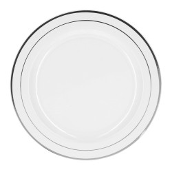 Набор тарелок белых с серебряной каймой 19 см 6шт