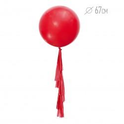 Шар красный с гирляндой тассел 67см
