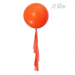 Большой шар Оранжевый 67 см с гирляндой тассел