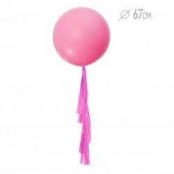 Шар нежно-розовый с гирляндой тассел 67см