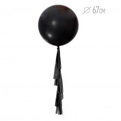 Шар черный с гирляндой тассел 67см