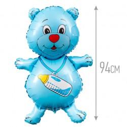 Шар (37''/94 см) Фигура, Медвежонок-мальчик, Синий, 1 шт.