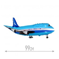 Шар Самолет синий 99см