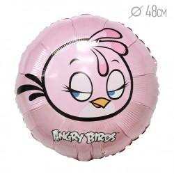 Шар фольгированный Angry Birds розовый 48см