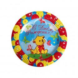 Тарелки 18 см С Днем Рождения Мишка / набор 6 шт. /