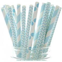 Набор трубочек Ассорти бумажные голубые 20шт
