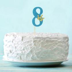 Топпер для торта синий цифра 8 с короной 34см
