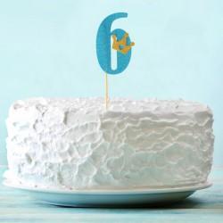 Топпер для торта синий цифра 6 с короной 34см