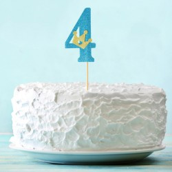 Топпер для торта синий цифра 4 с короной 34см